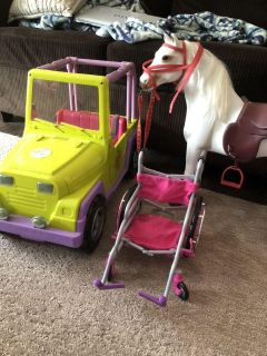 Doll Jeep, horse, and wheelchair
