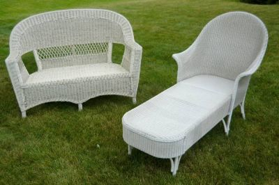 White Wicker Furniture - Love Seat and Chaise