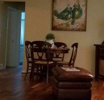 POTTERY BARN 40 INCH ROUND TABLE WITH 4 CHAIRS. PERFECT CONDITION $500. CASH ONLY. CALL 419 379-4378