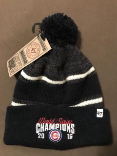 NWT Cubs world champions winter hat. Porch pickup in Morton.