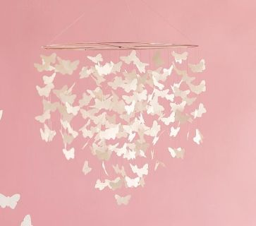 New Pottery Barn Kids White Butterfly Chandelier Ceiling Mobile