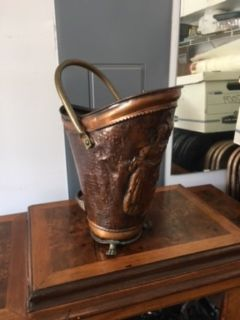 Antique Copper Fireplace Coal Bin