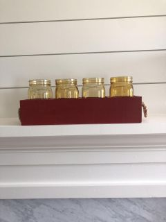 Tuscan Red box with 4 yellow stained Mason jars
