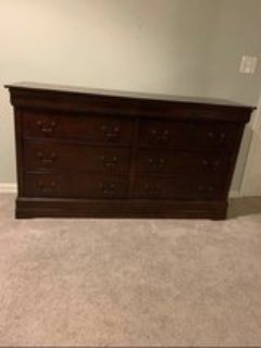 Queen sleigh bed and dresser