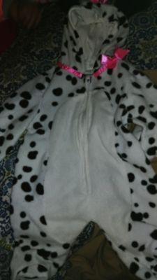 Dalmatian winter suit with pink bow