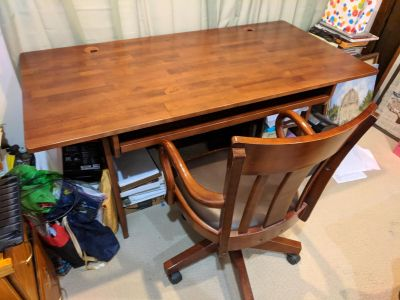 Solid Wood Computer Work Table Set