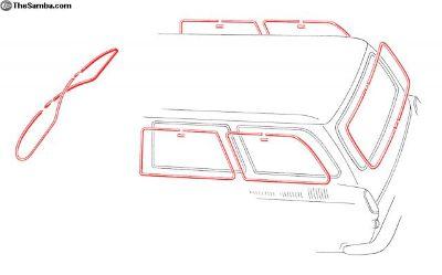 New Squareback Window Molding Kit W/O Pop-Outs