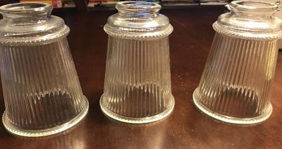 Ripples clear glass light shades. Set of 3.