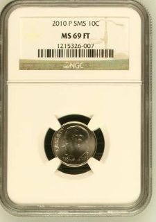 2010-P & D ROOSEVELT DIME SATIN NGC MS69 FT