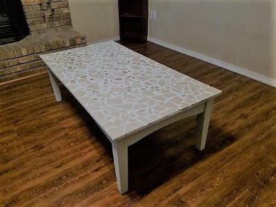Mosaic Tile Top Coffee Table with wooden base and legs