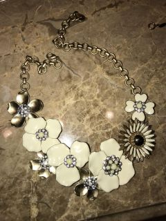 Stella & Dot heavy metal floral necklace