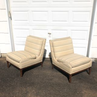 Pair Vintage Modern Slipper Chairs