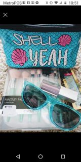 New Make-up bag, Brushes, eye shadows + sunglasses