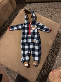 Like new 6 month fleece hooded outfit