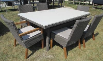 "White Stone Topped Outdoor Dining Table & 6 ""Wicker"" Chairs"