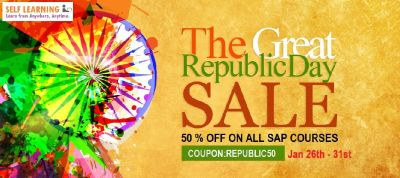HURRY UP LAST 1 DAY REPUBLIC 50% OFF SALE: LEARN ANY SAP COURSE @ 50 % OFF NOW ( OFFER VALID from 26th - 31st, JAN'17 ) - http://www.self...