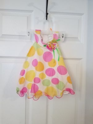 12M, BONNIE BABY, POLKA DOT DRESS WITH SHEER SLIP UNDERNEATH, EXCELLENT CONDITION, SMOKE FREE HOUSE