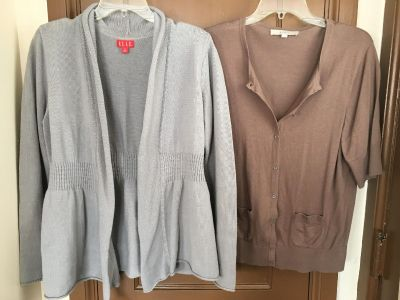 Pale gray Elle sweater. Light brown Ann Taylor Loft sweater. Both are size XLarge. Great condition!