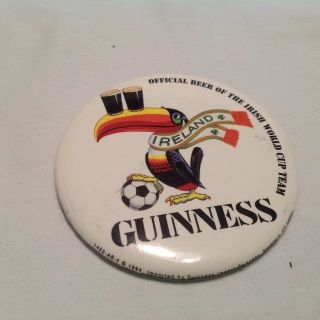 Vintage 1994 Guinness Ireland Beer Button Pin Official Beer Irish World Cup Team