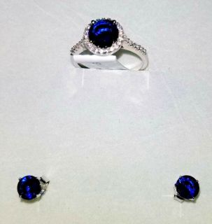 blue & white diamond & sterling silver ring w/ matching ear rings - sz 6.5