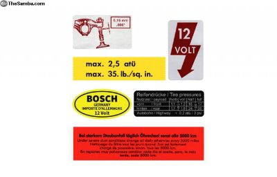 '67 Beetle Decal Variety Pack w/ Yellow Wshr Decal