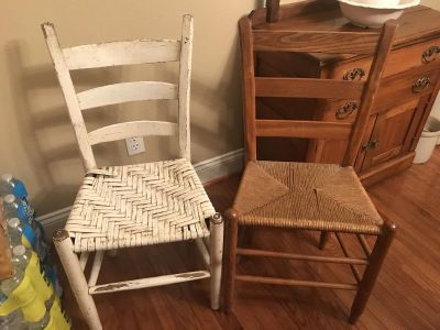 2 cute little chairs, Great for porch or accent! Sturdy but seats show wear $20 each