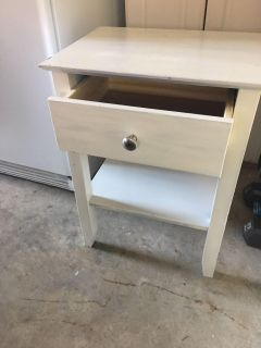 Wood side table , white, measures, 25 H x 14 W x 12 D. With 1 drawer, bottom shelf.