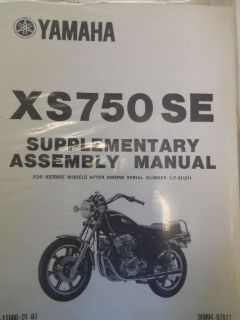 Buy Yamaha XS750SE Assembly Manual motorcycle in Richlandtown, Pennsylvania, United States, for US $24.99
