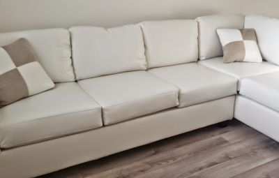 BRAND NEW Reversible Leather Sectional Sofa Set, White