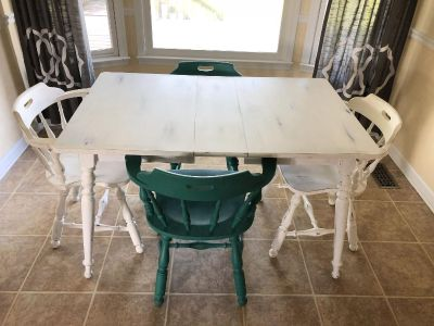 Custom Painted Dining Table and 4 chairs