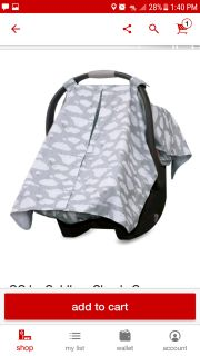 New! 100% Cotton car seat canopy