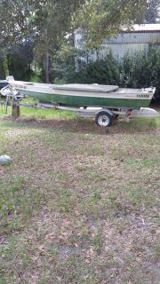 15 Foot aluminum Terry Bass boat and trailer