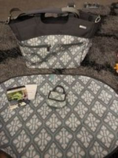 JJ Cole Diaper Bag like new used once no stains very clean has stroller straps paci pack matching