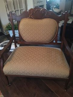 Beautiful antique loveseat- light beige- cross posted
