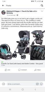 Evenflo Car seat (with base) + Stroller- Very good!