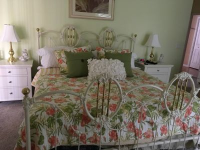 Metal gold and white king size bed with box spring..excellent condition