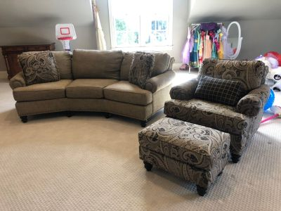 Smith Bros Conversation Sofa, Chair, Ottoman and pillows