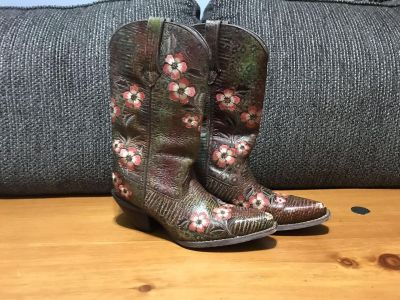 Durango Crush Floral Print Leather Western Boots RD3564 Womens US 6.5M