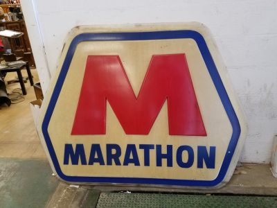 "Huge Polycarbonate 4' x 5"" Marathon gas sign"