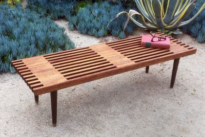 Mid century 2 tone slat bench/coffee table