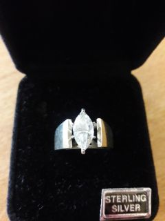 Sterling Silver CZ Marquise Cut Ring