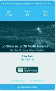 Ed Sheeran 9/15 Gillette Stadium 2 Tickets Section 132