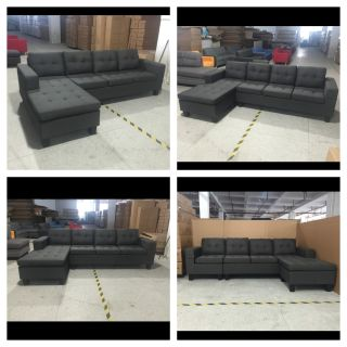 """Brand New 4 seater European style charcoal/dark grey lounge sofa with reversible chaise 99""""w x50""""(chaise) x 33""""t x31""""d - Free delivery"""