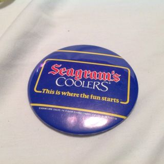 Vintage Seagram's Coolers Ths is where the fun starts Beer Alcohol Button Pin