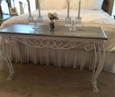 Elegant sofa table / end of bed/ or entryway.. white with a grey weathered looking top