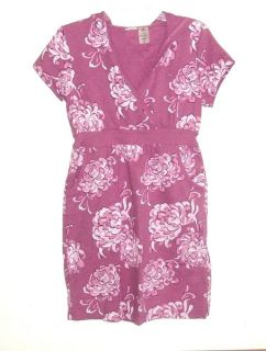 Womens Small Bold Spirit Pink Floral Hooded Casual Sweatshirt Dress V Neck