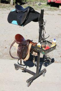 2 English Saddles with Pads and Saddle Rack