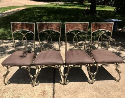 SET OF 4 METAL FRAMED DINING CHAIRS