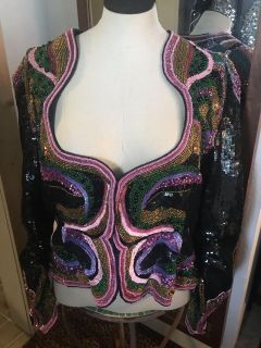 GORGEOUS Vintage Beaded Jacket Blazer Made in India Pure Silk Size Small/Medium - Perfect condition! 1970/80s