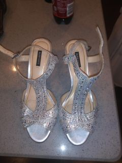 Alex Marie Silver studded heels size 7.5 $40 OBO